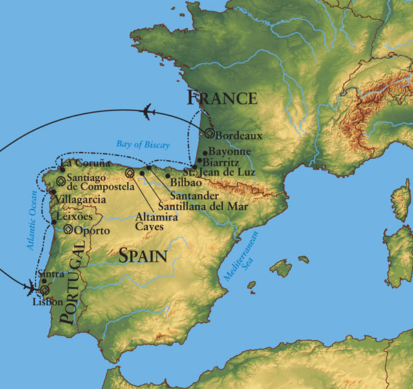 Europe - Map of france and spain